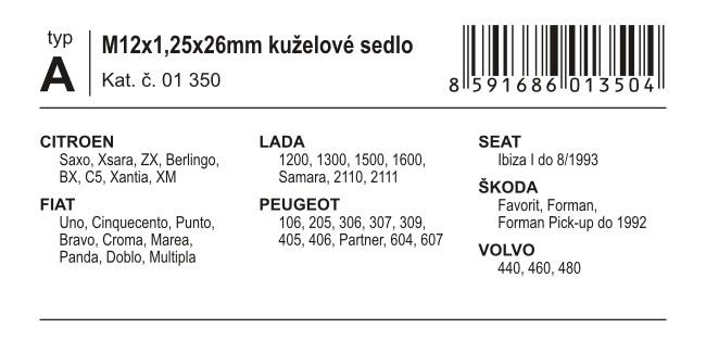Poj. šrouby kol M12x1,25x26mm kuželové sedlo (A)
