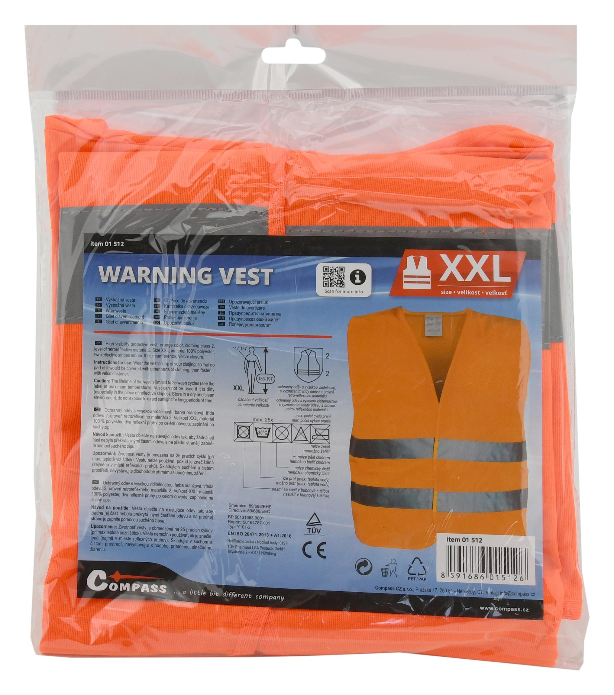 Vesta výstražná oranžová XXL EN 20471:2013 + A1:2016