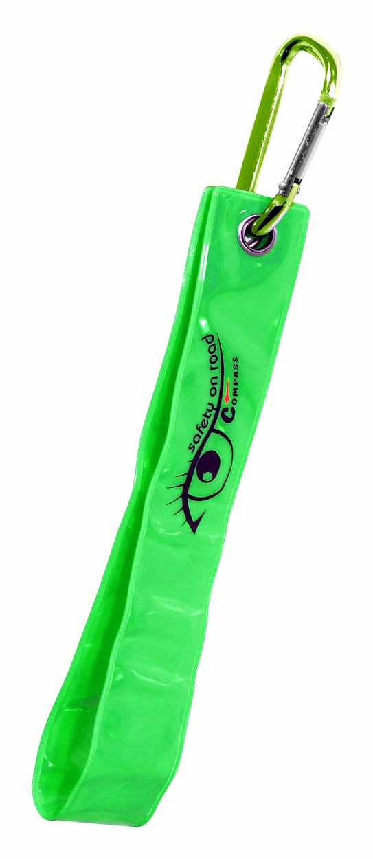Přívěšek s karabinou reflexní S.O.R. zelený