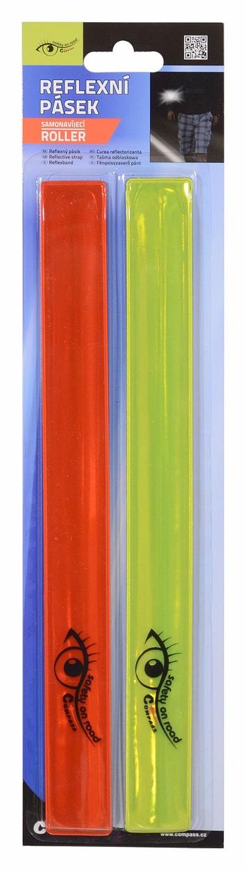 Pásek reflexní ROLLER 2ks žlutý + červený