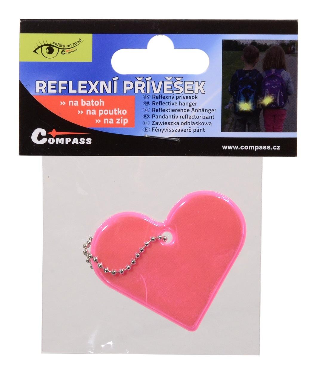 Přívěšek reflexní SRDCE - růžový