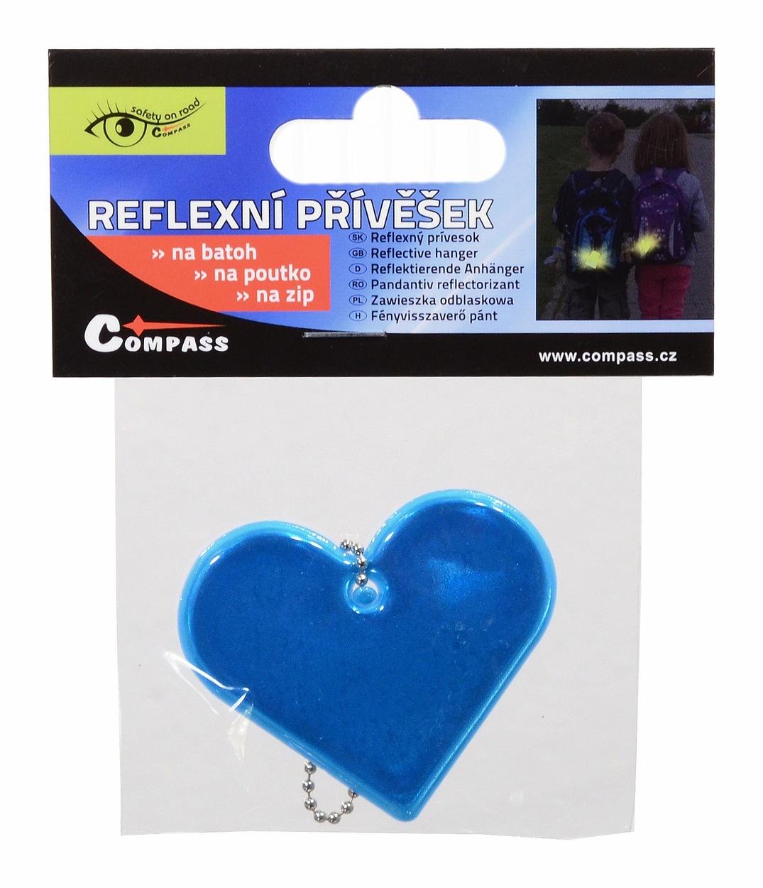 Přívěšek reflexní SRDCE - modrý