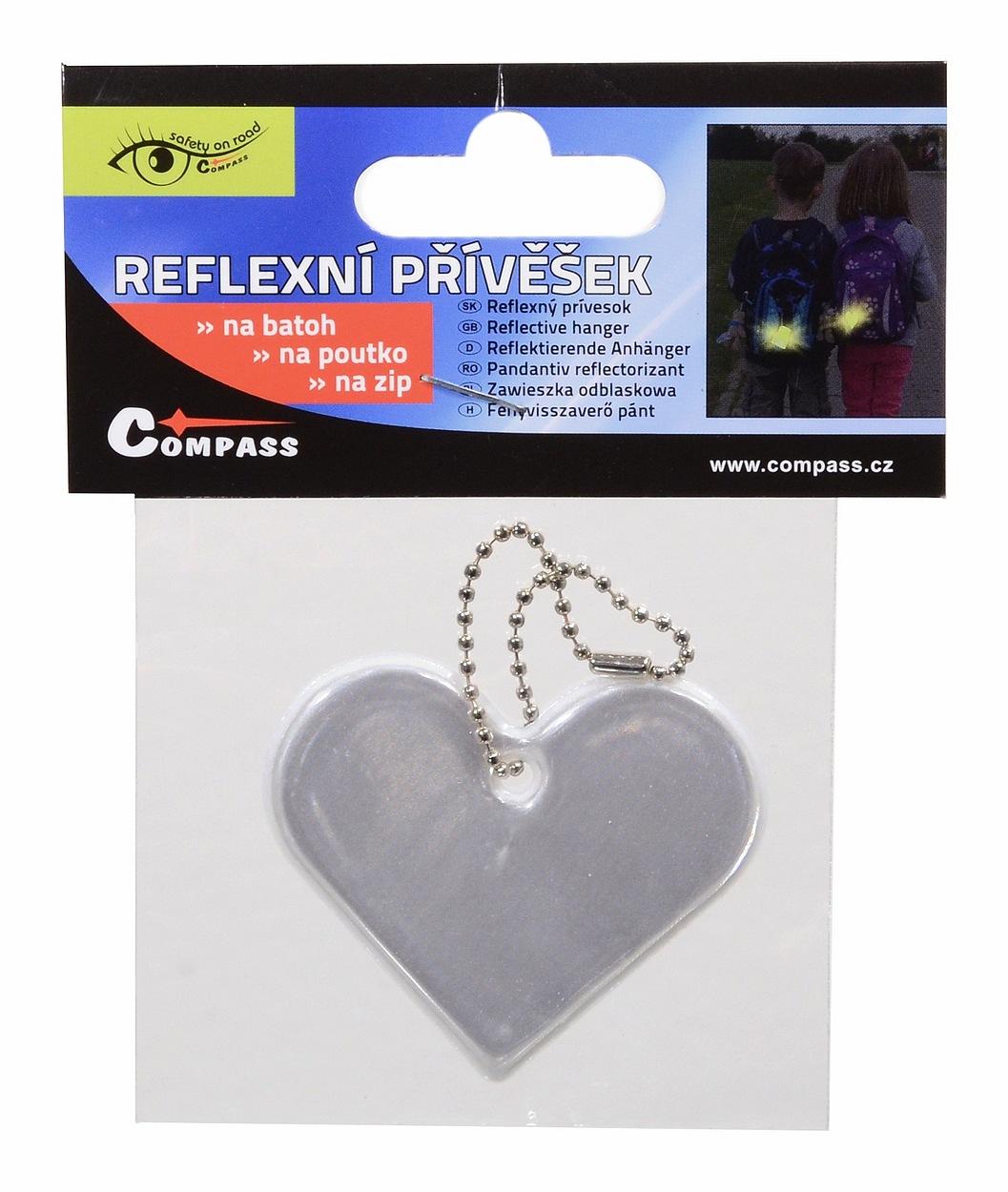 Přívěšek reflexní SRDCE - stříbrný