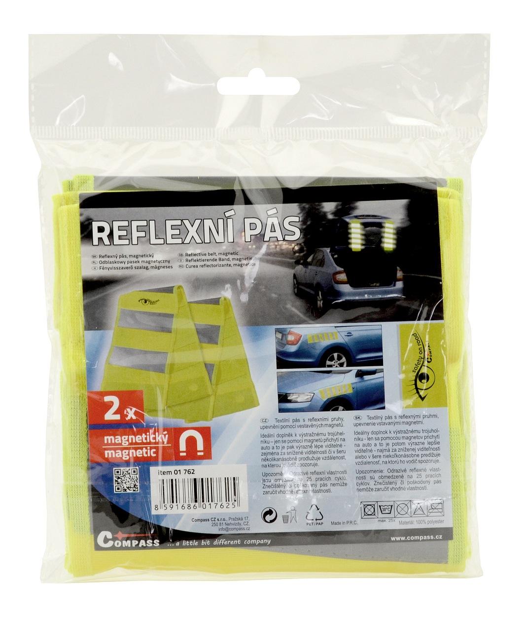 Reflexní pás s magnety žlutý 2ks