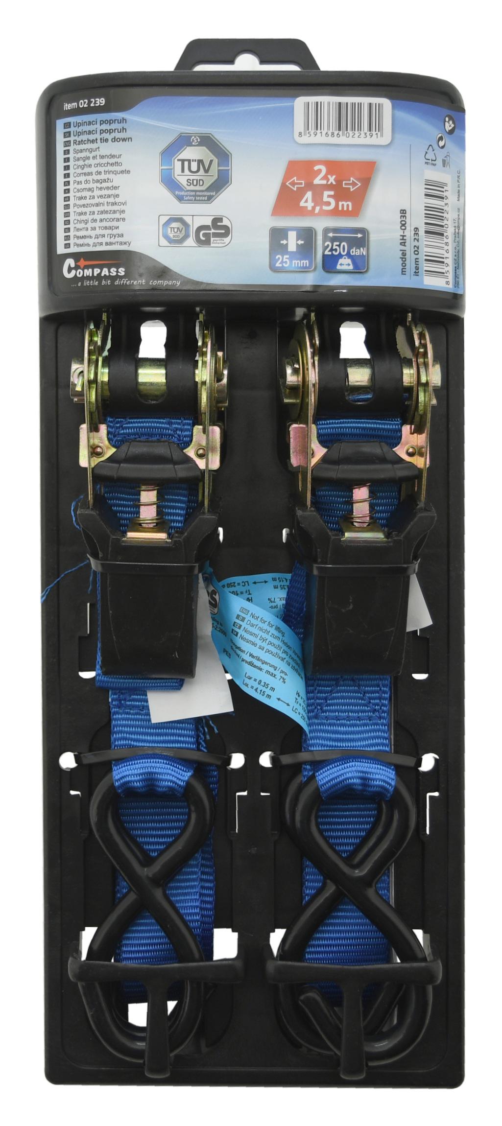 Popruh s ráčnou a háky 2ks 125daN 24mm x 4,50m TÜV