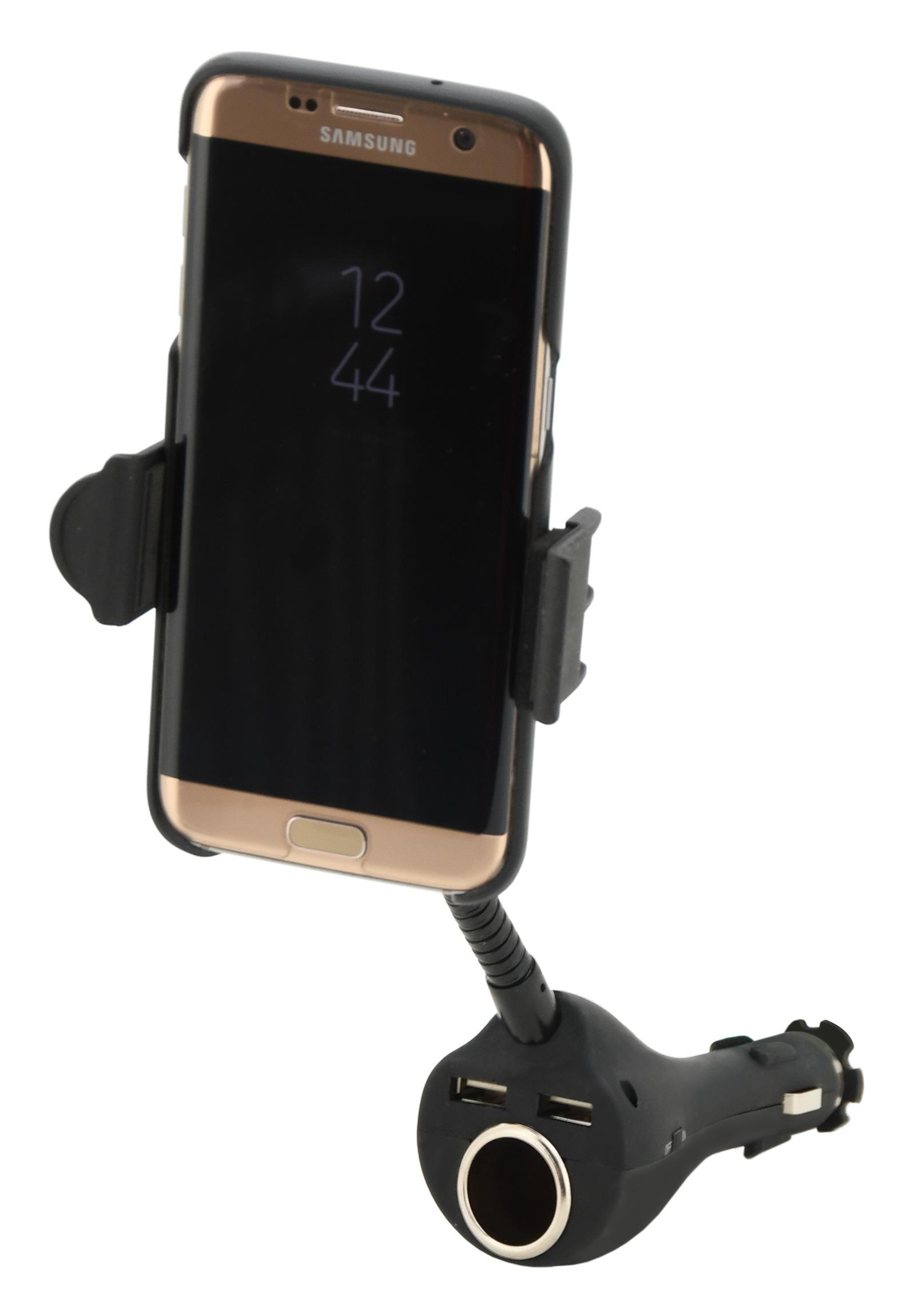 Držák telefonu do zásuvky SPRING 20cm 2xUSB