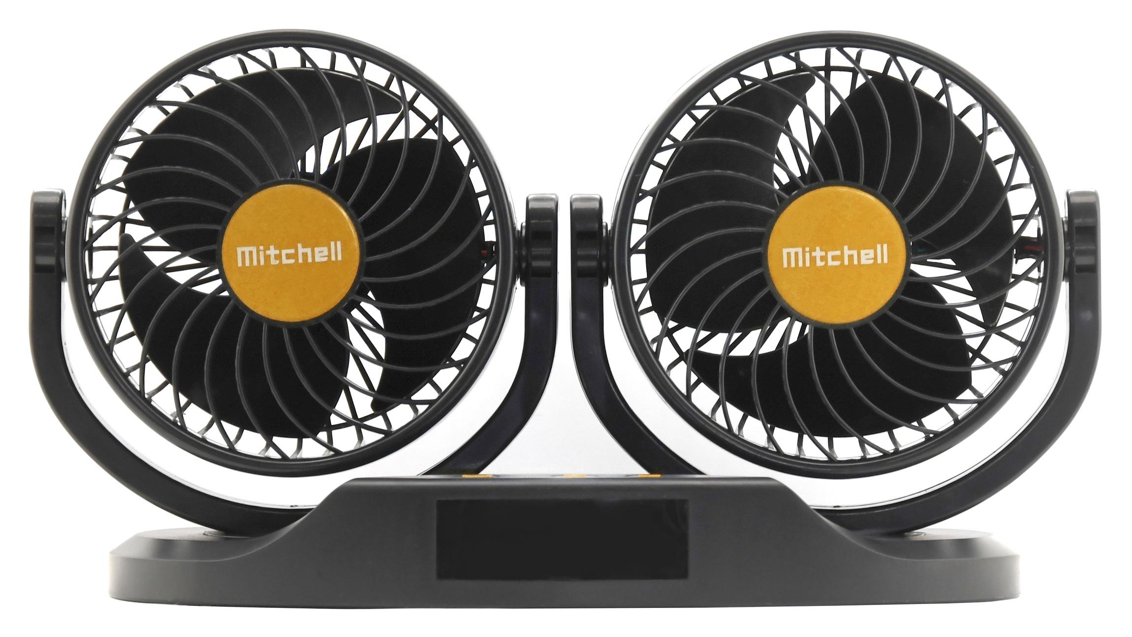 Ventilátor MITCHELL DUO 2x130mm 24V na palubní desku s teploměrem