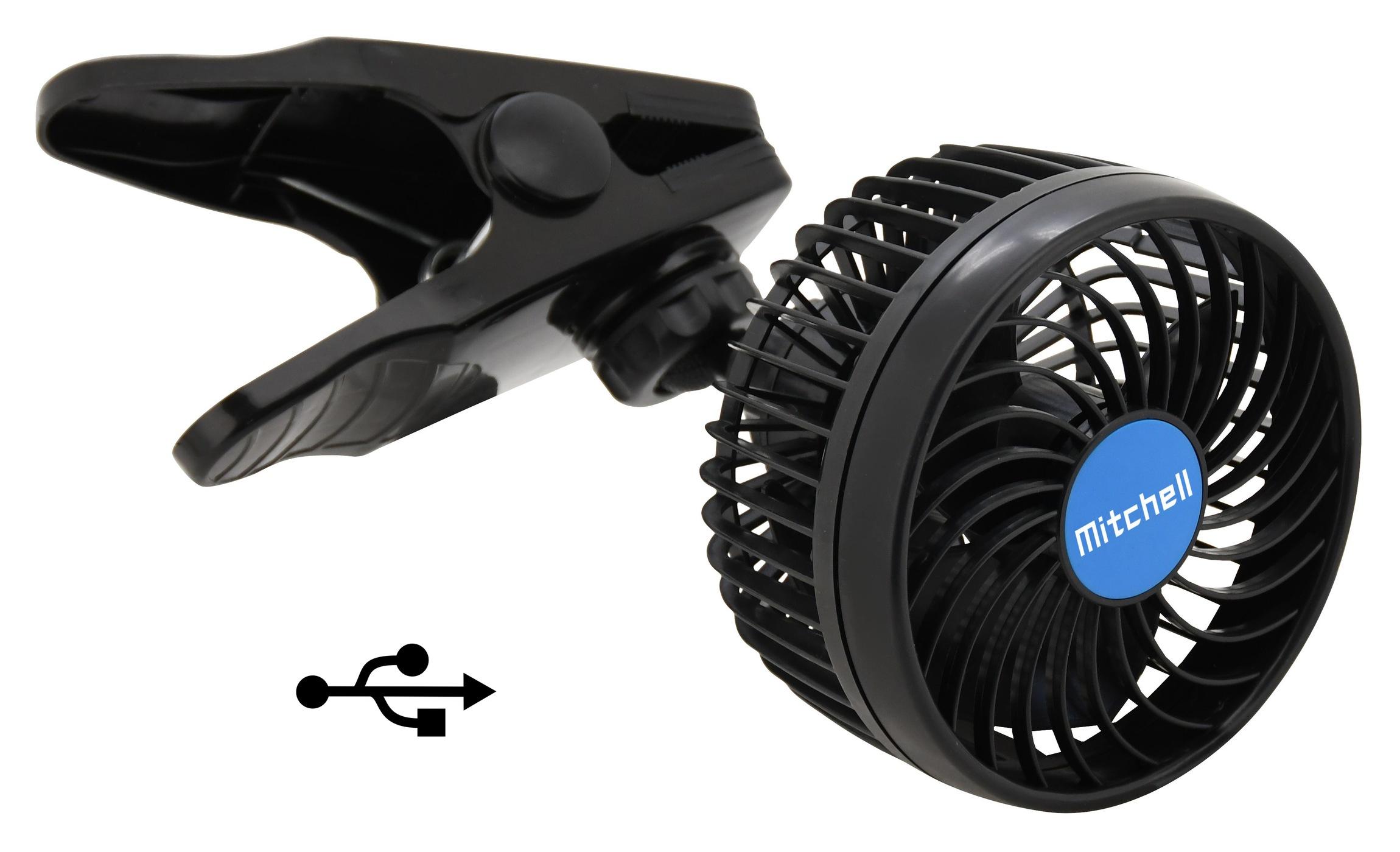 Ventilátor MITCHELL 115mm USB 5V klips