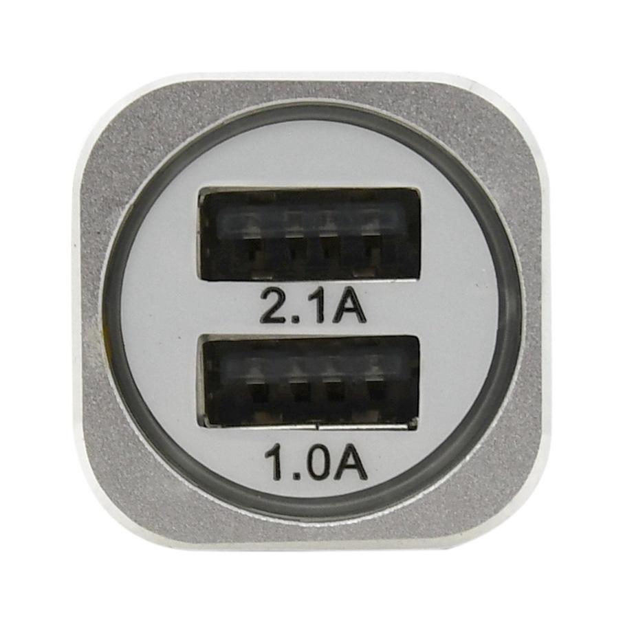 Zástrčka 12/24V 2xUSB 5V (1,0+2,1A) METAL