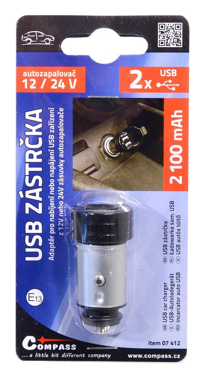 Zástrčka USB 12-24V 5V/2100mA E homologace