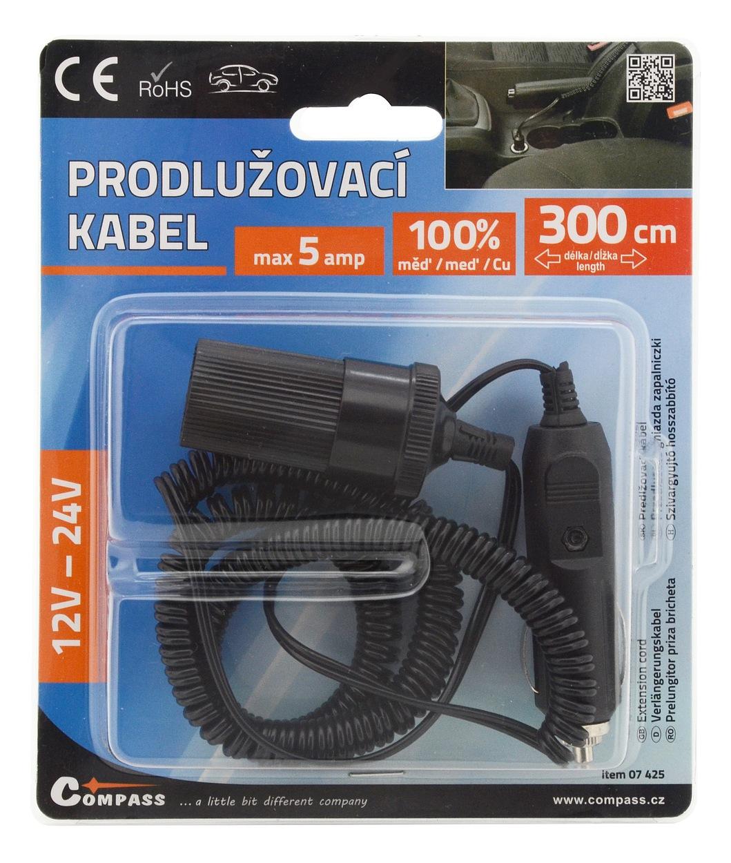 Prodlužovací kabel 12/24V 5A 3m