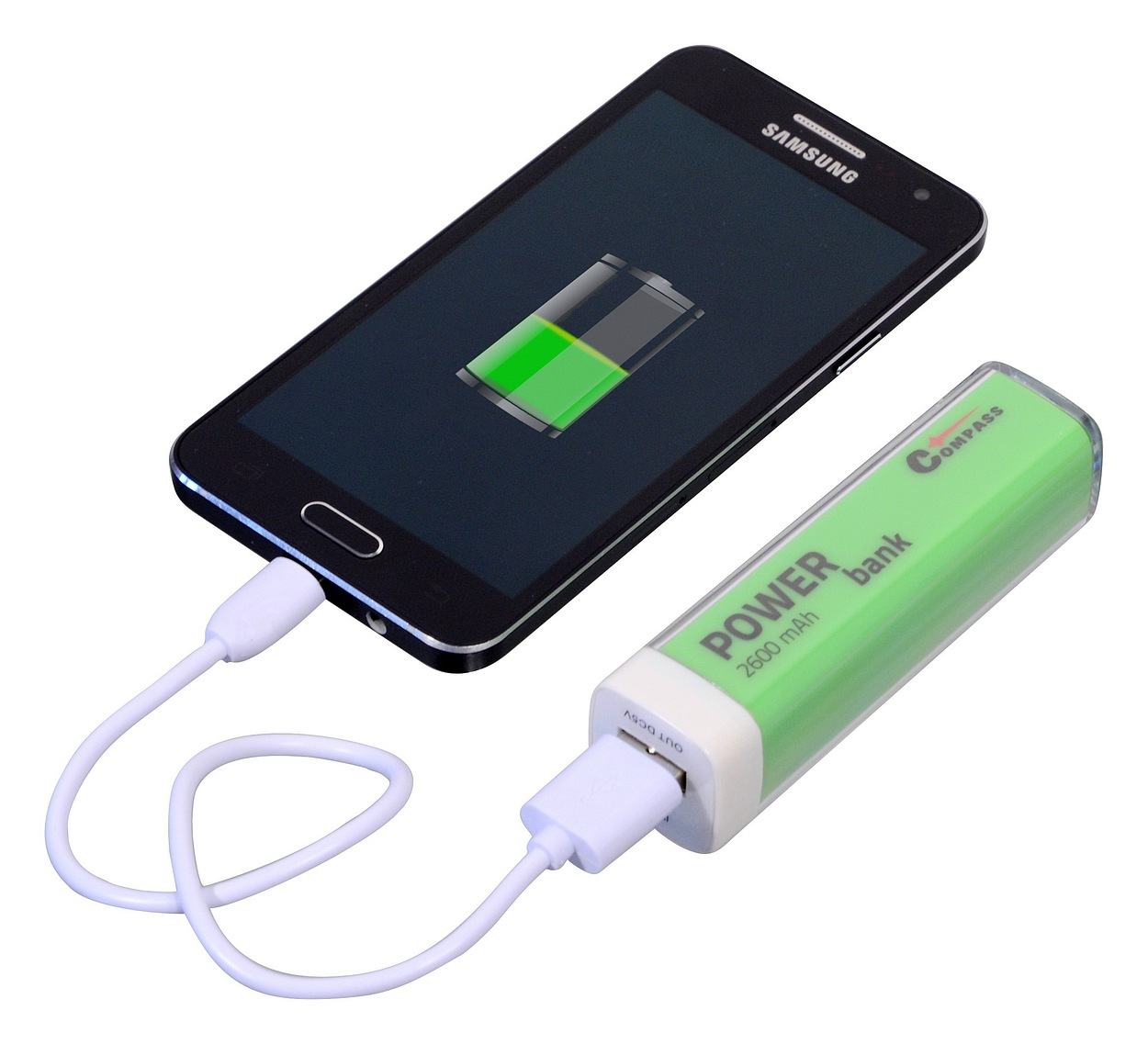 POWER BANK 2600mA zelený + 30cm kabel