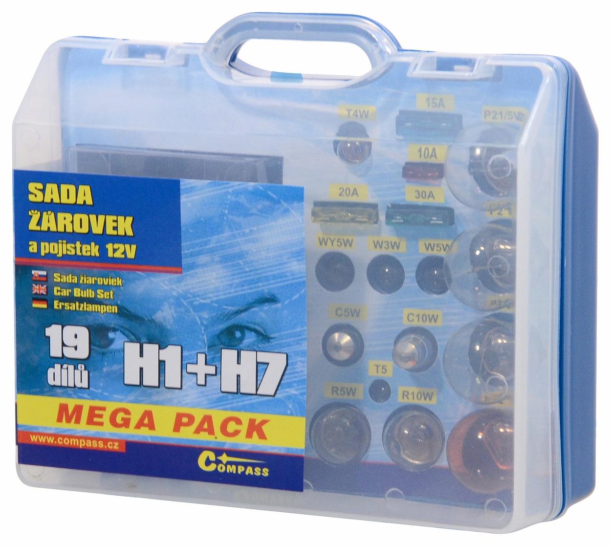 Žárovky 12V servisní box MEGA H1+H7+pojistky