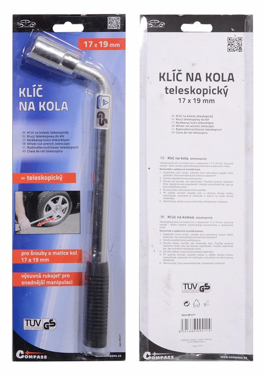 Klíč na kola 17-19 mm TÜV, GS