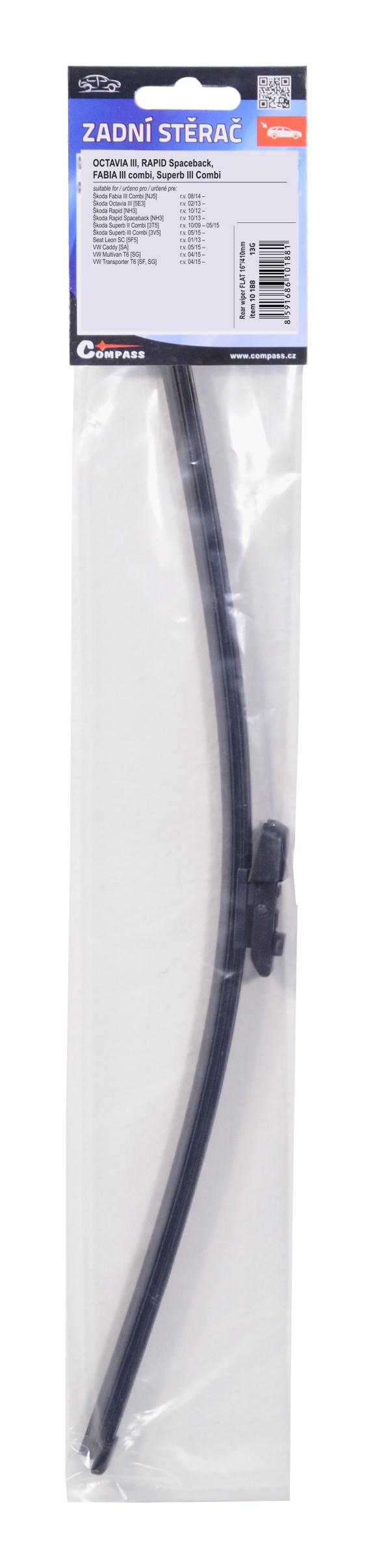 "Stěrač zadní FLAT 16""/400mm OCT3 / RAP spac / FAB3 comb / SUP3 comb"