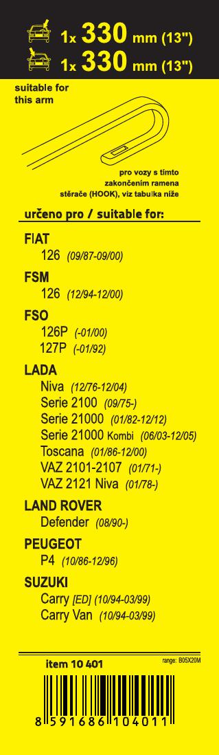 Stěrače FLAT SET (HOOK) 330+330mm