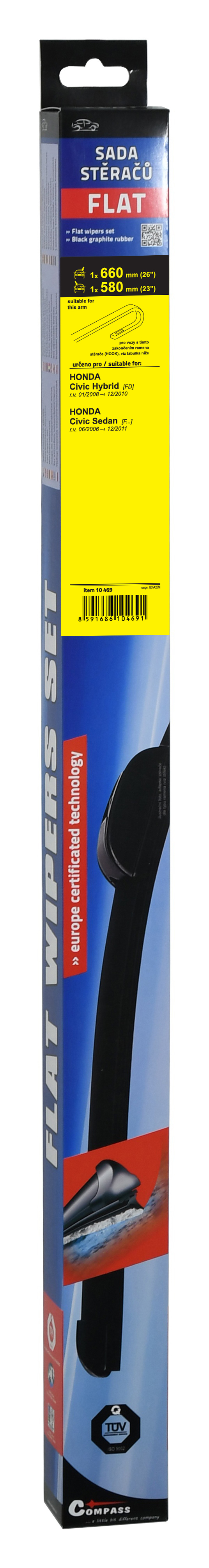 Stěrače FLAT SET (HOOK) 660+580mm