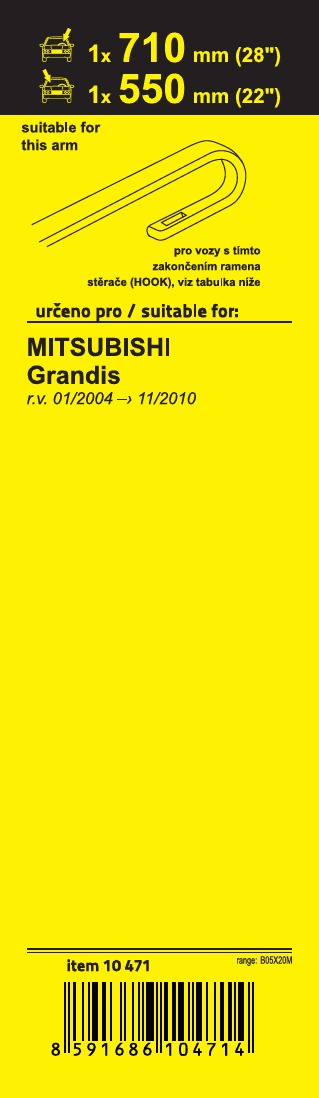 Stěrače FLAT SET (HOOK) 710+550mm