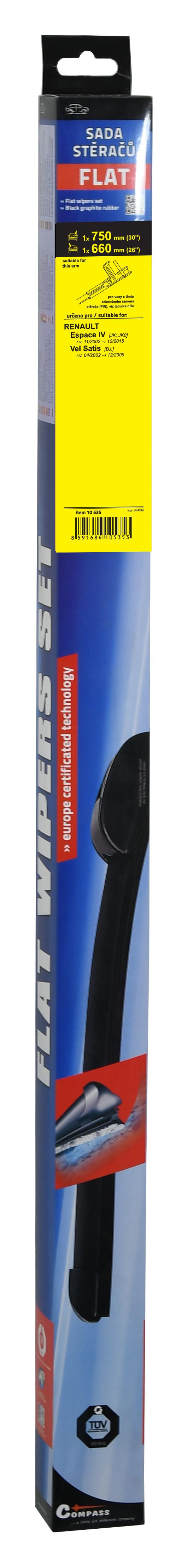 Stěrače FLAT SET (PIN) 750+660mm