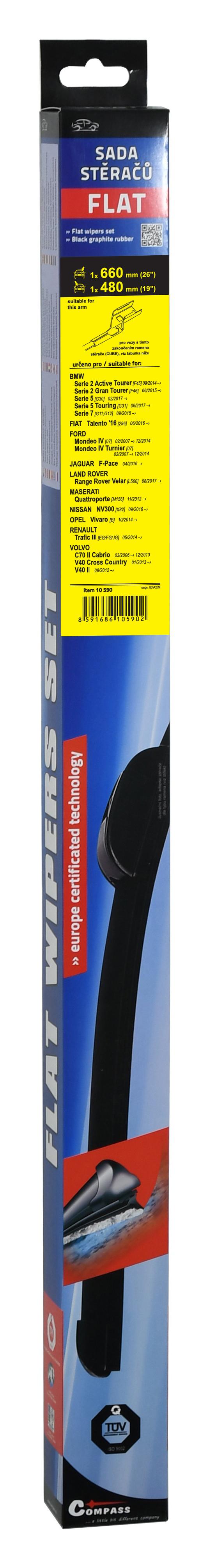 Stěrače FLAT SET (CUBE) 660+480mm