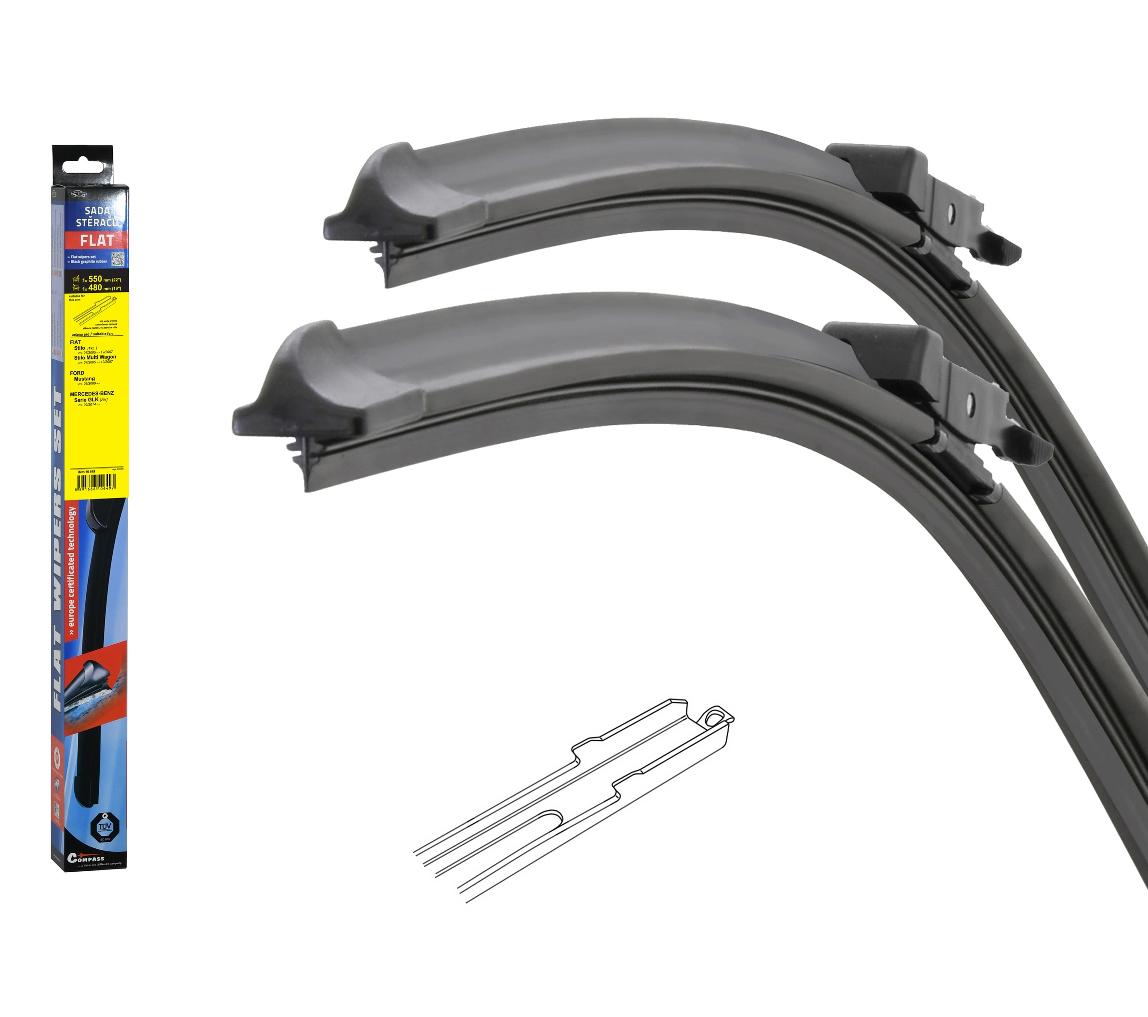 Stěrače FLAT SET (SLOT) 550+480mm