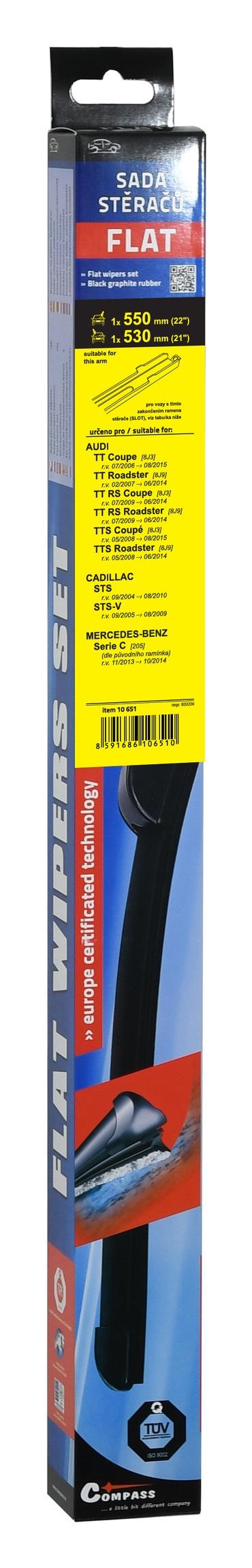 Stěrače FLAT SET (SLOT) 550+530mm