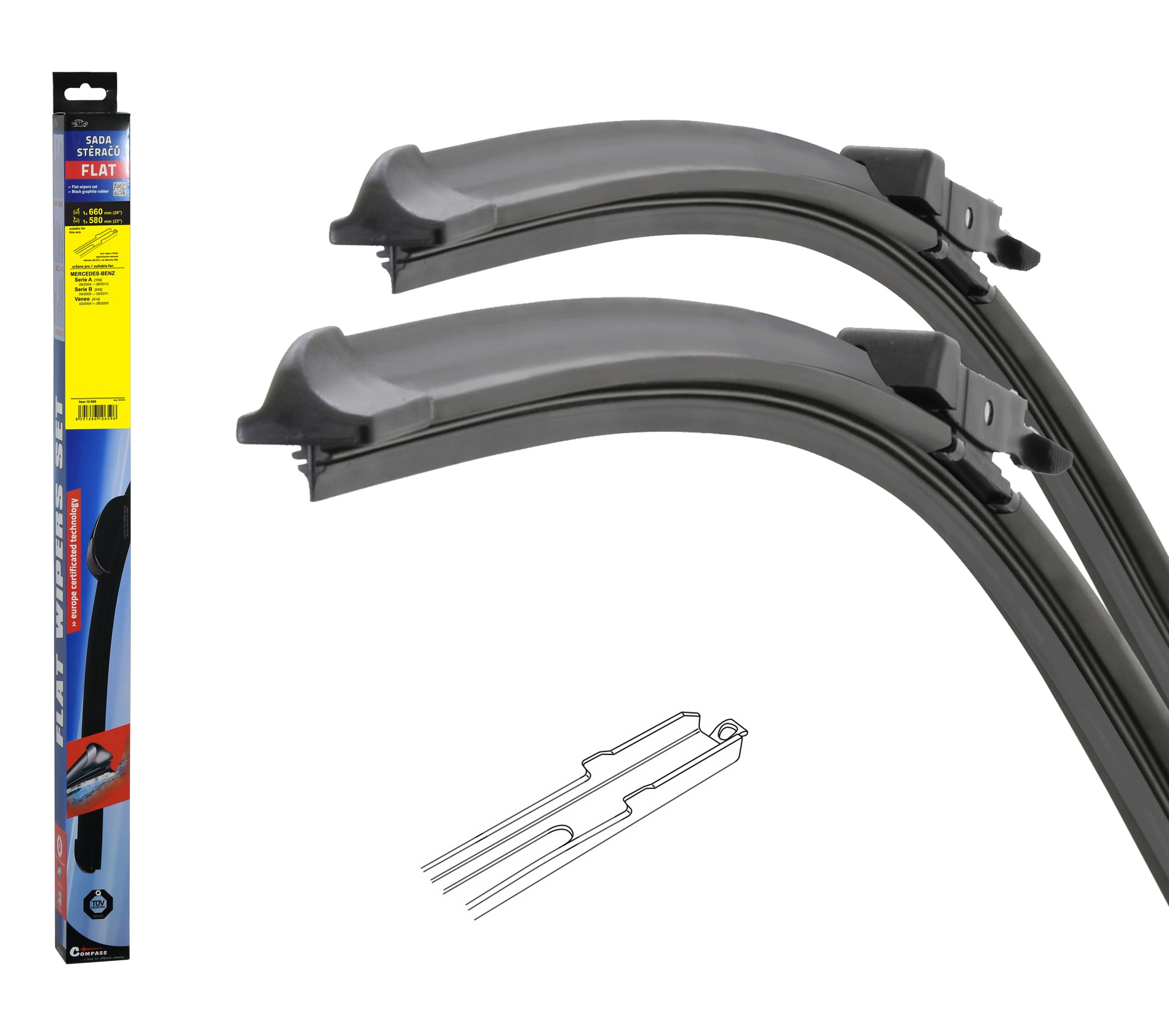 Stěrače FLAT SET (SLOT) 660+580mm