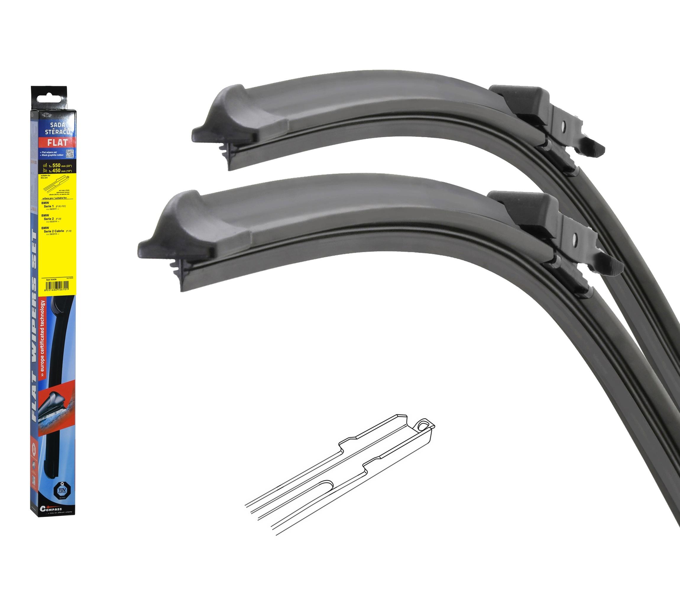Stěrače FLAT SET (SLOT) 550+450mm