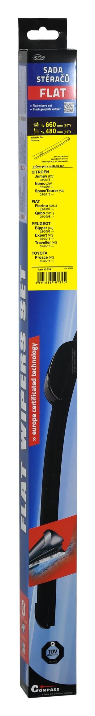 Stěrače FLAT SET (BOLT) 660+480mm