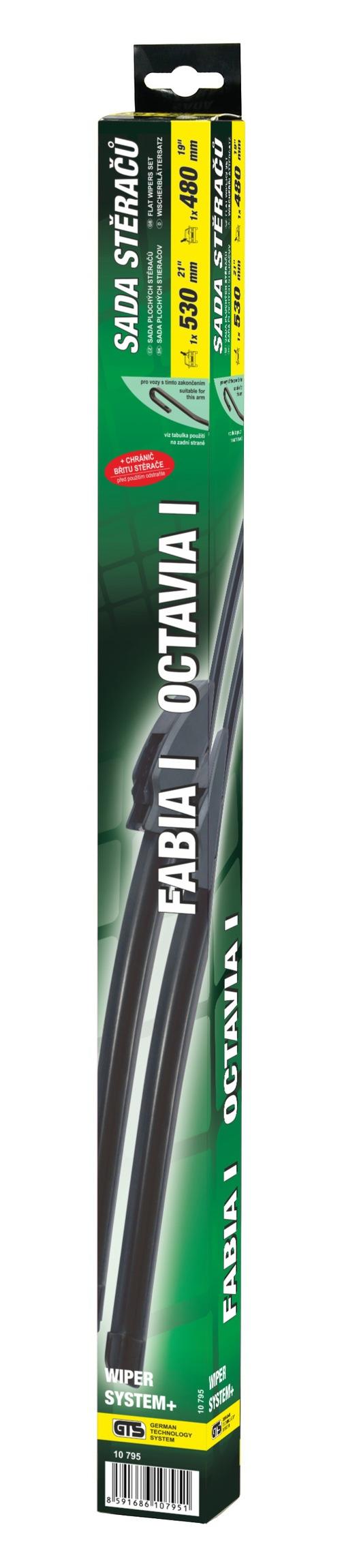 Stěrače FLAT SET 530+480mm GREEN OCT I/FAB I