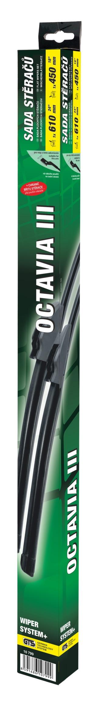 Stěrače FLAT SET 610+450mm GREEN OCT III