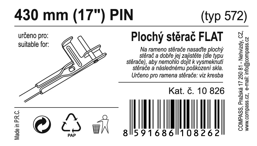 "Stěrač FLAT BULK (PIN) 17""/430mm"
