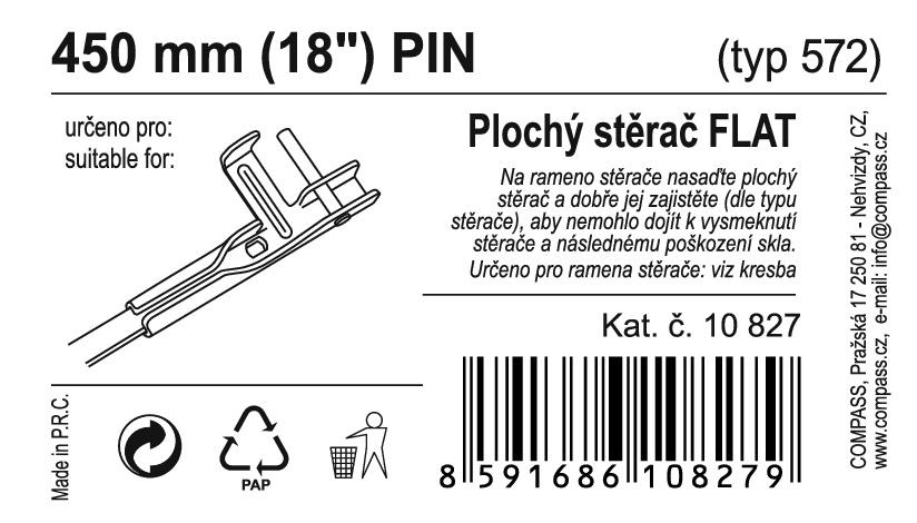 "Stěrač FLAT BULK (PIN) 18""/450mm"