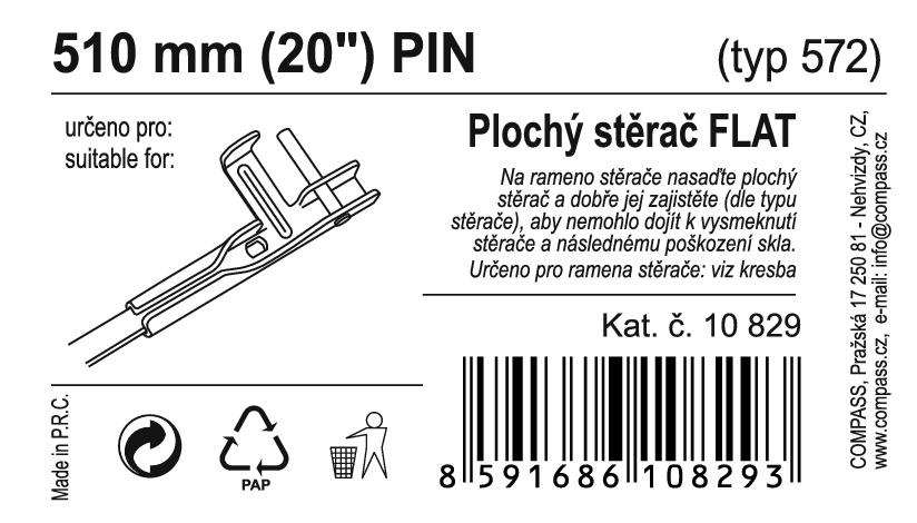 "Stěrač FLAT BULK (PIN) 20""/510mm"