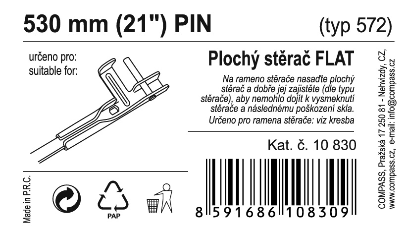 "Stěrač FLAT BULK (PIN) 21""/530mm"