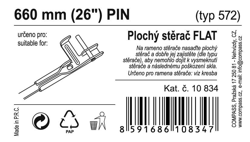 "Stěrač FLAT BULK (PIN) 26""/660mm"