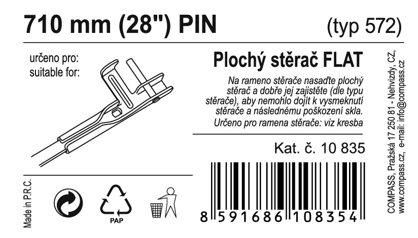 "Stěrač FLAT BULK (PIN) 28""/710mm"