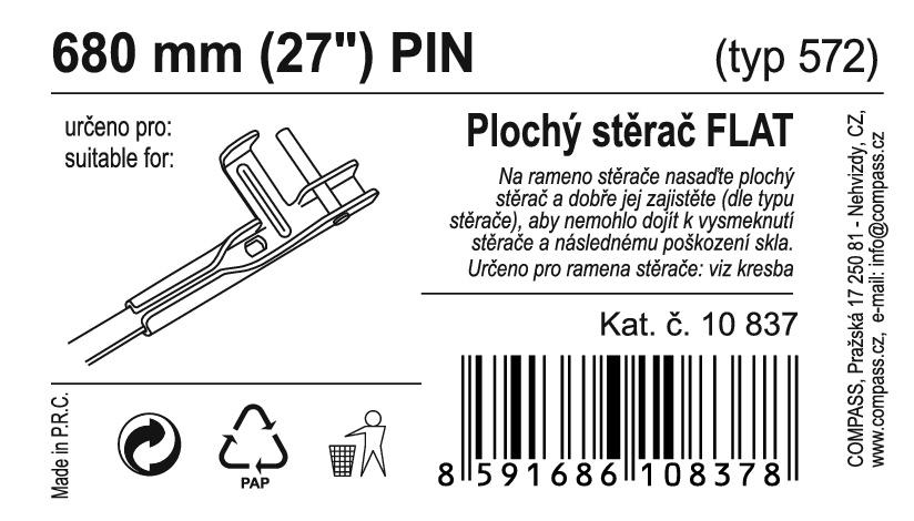 "Stěrač FLAT BULK (PIN) 27""/680mm"
