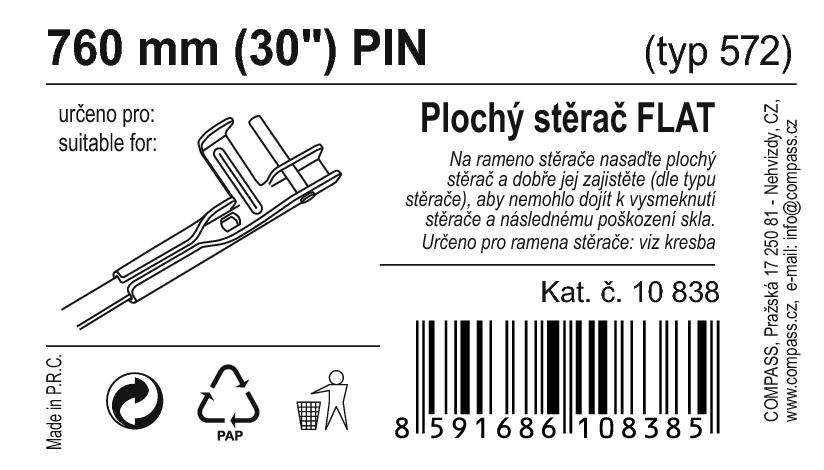 "Stěrač FLAT BULK (PIN) 30""/750mm"