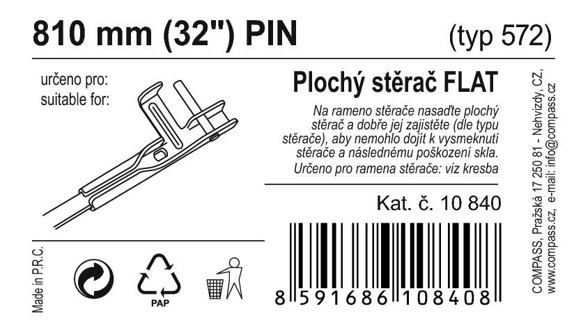 "Stěrač FLAT BULK (PIN) 32""/810mm"
