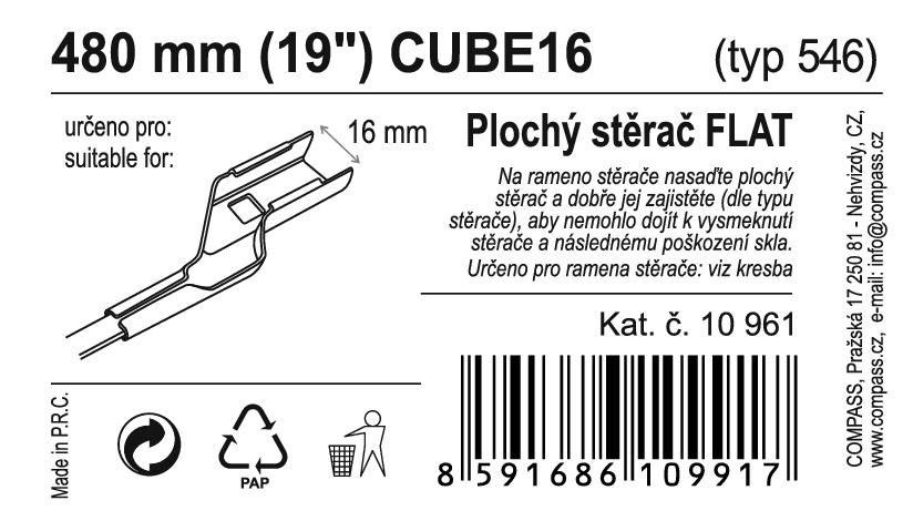 "Stěrač FLAT BULK (CUBE16) 19""/480mm"