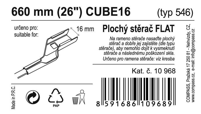 "Stěrač FLAT BULK (CUBE16) 26""/660mm"
