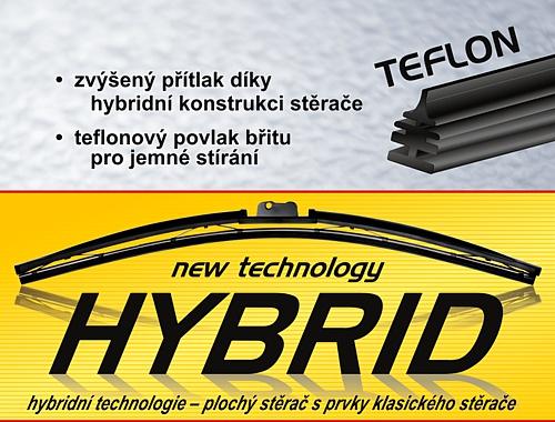 Stěrač HYBRID  550mm + 11 adaptérů TEFLON