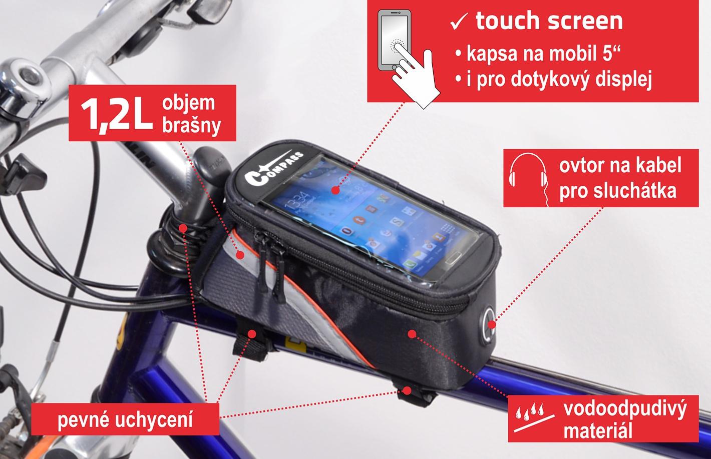 Cyklotaška nad rám přední vidlice+PHONE
