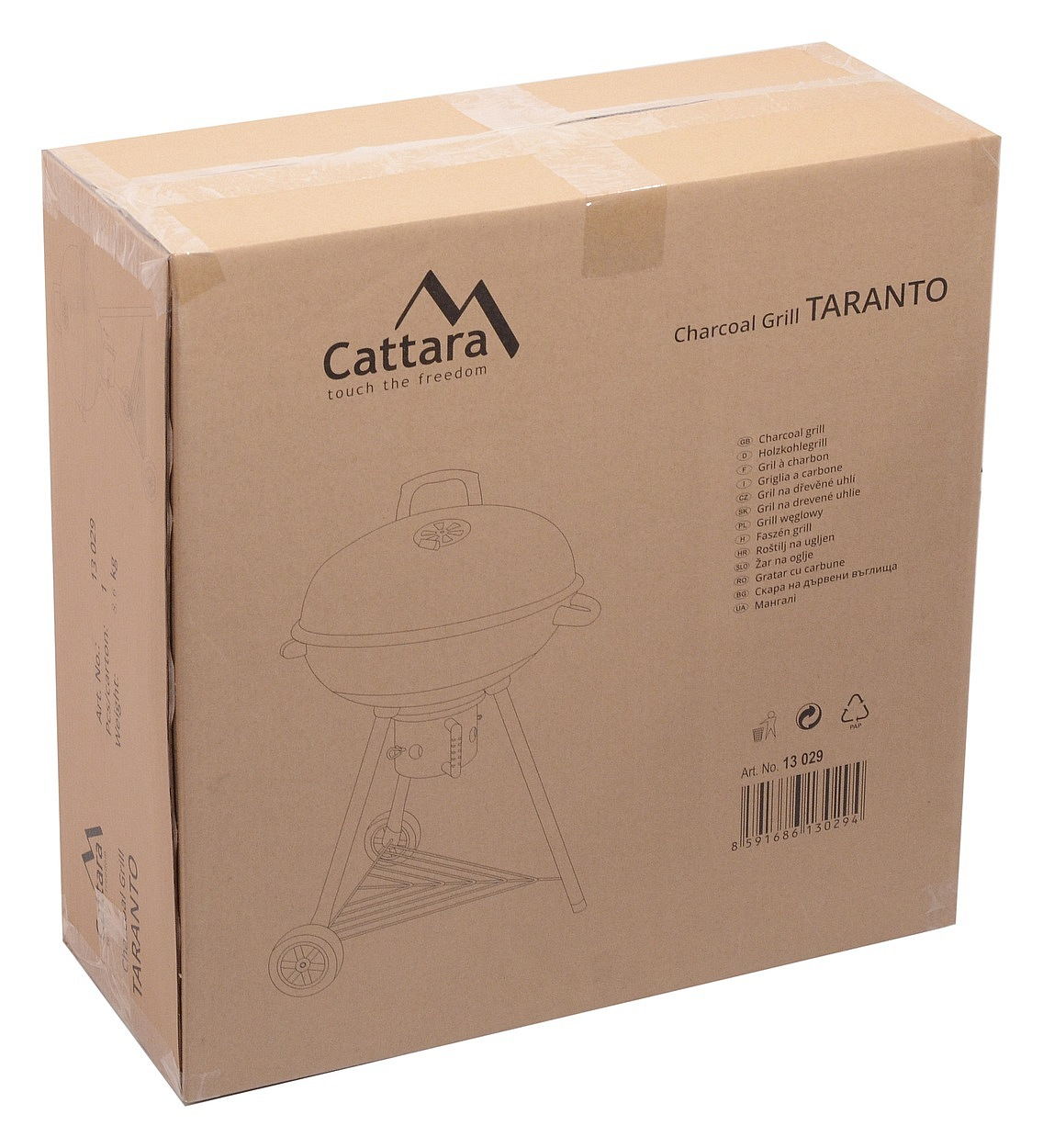 CATTARA Gril na dřevěné uhlí kotlový TARANTO 55cm