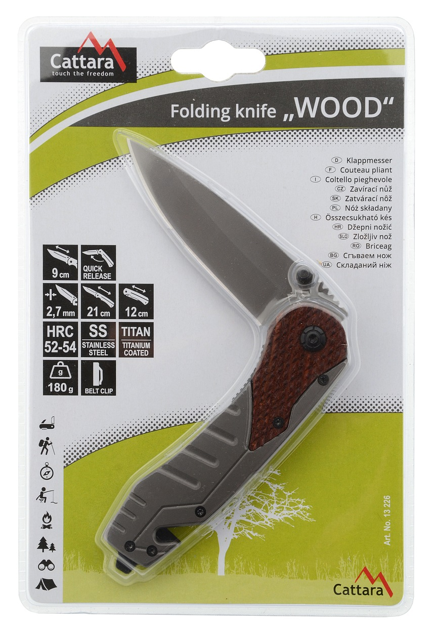 Cattara - Nůž zavírací WOOD s pojistkou 21cm