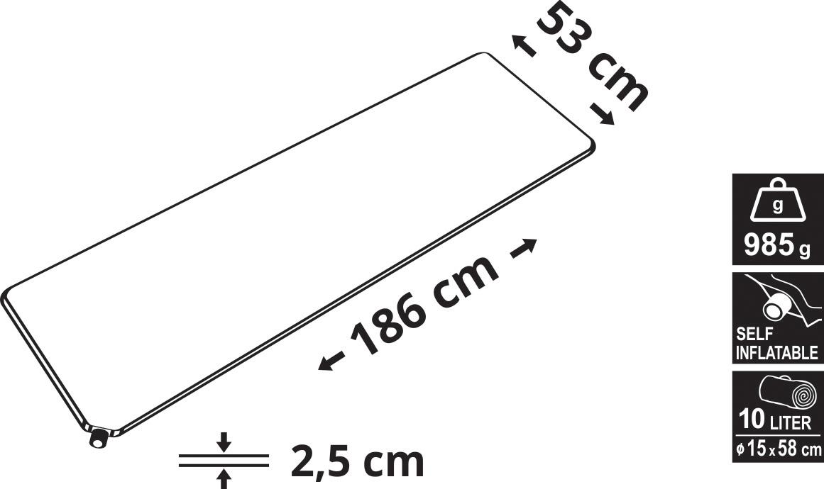 Cattara - Karimatka samonafukovací 186x53x2,5cm modrá