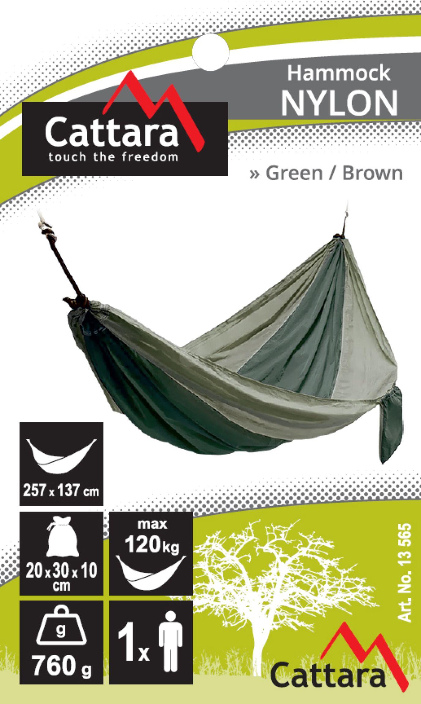 Houpací síť NYLON 275x137cm zeleno-hnědá