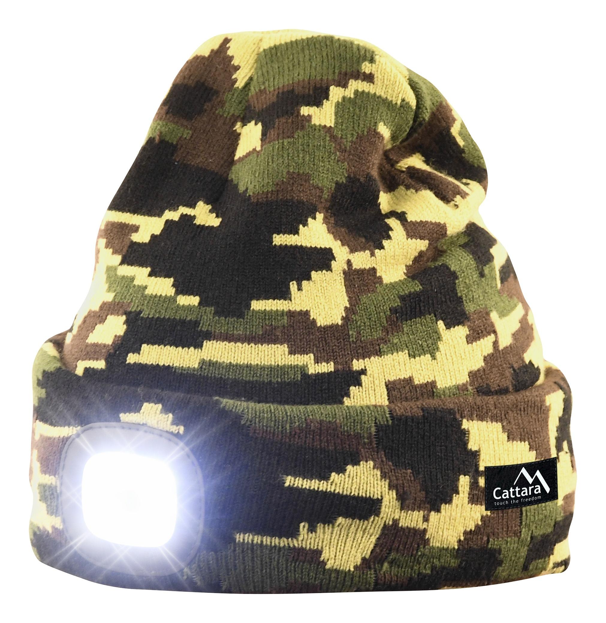 Čepice ARMY s LED svítilnou USB nabíjení