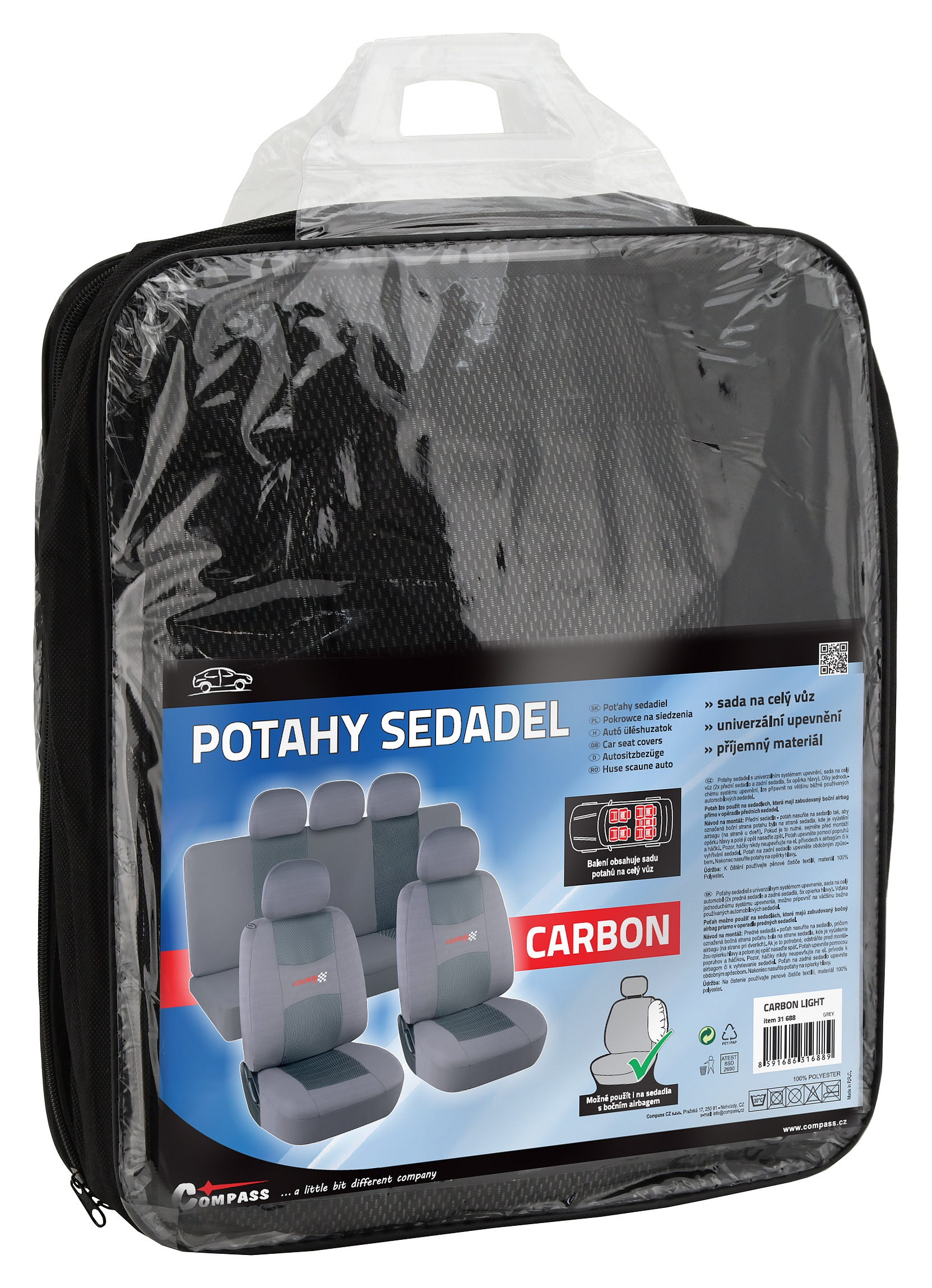 Potahy sedadel sada 9ks CARBON LIGHT šedé AIRBAG